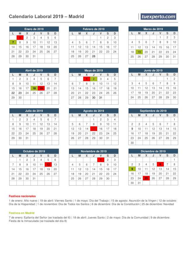 calendario laboral 2019 madrid