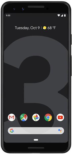 pixel 3 delantera negra