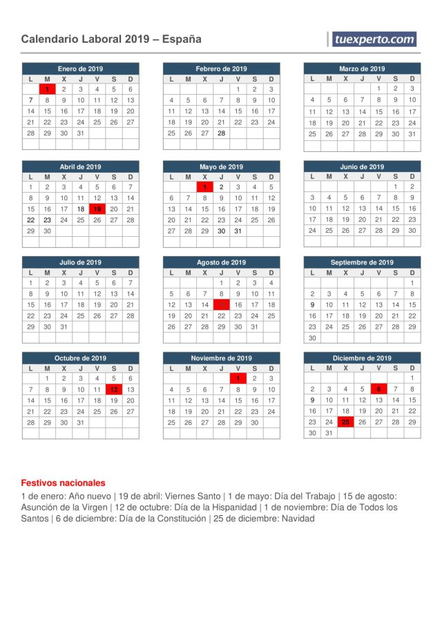 Calendario laboral 2019 para descargar