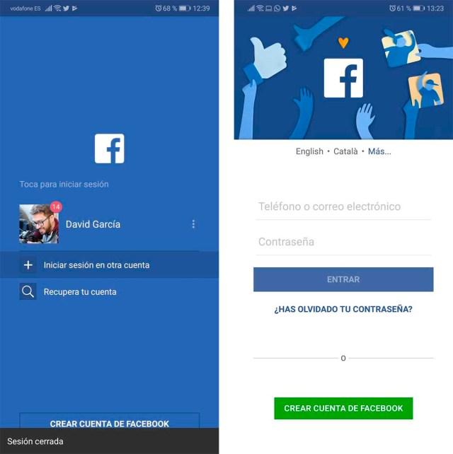 Facebook iniciar cesion