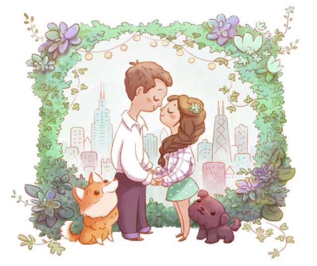 invitacion boda pareja perros