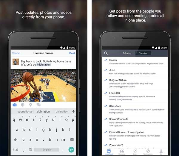 facebook mentions android