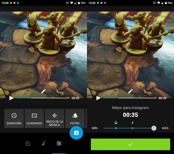 Quik editar video en ©Android música