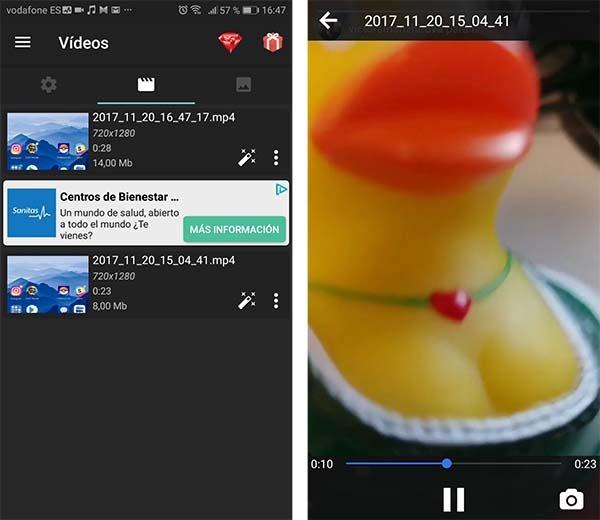 capturas en vídeo az screen recorder