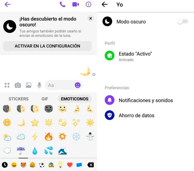 Cómo se activa el modo negro en Messenger