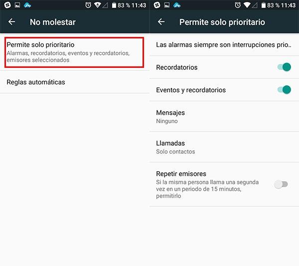 configurar notificaciones android permisos no molestar