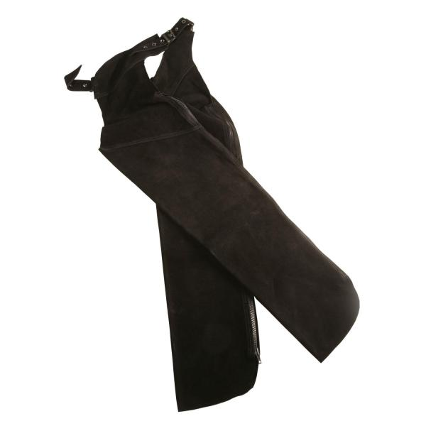 These are quality full chaps in very strong, durable suedeVery comfortable and warm to wear for use in wet or dirty conditions.Great for tough weather and for hard working conditions.Material: SuedeColours: Brown and BlackSizes: XX Small – XX Large