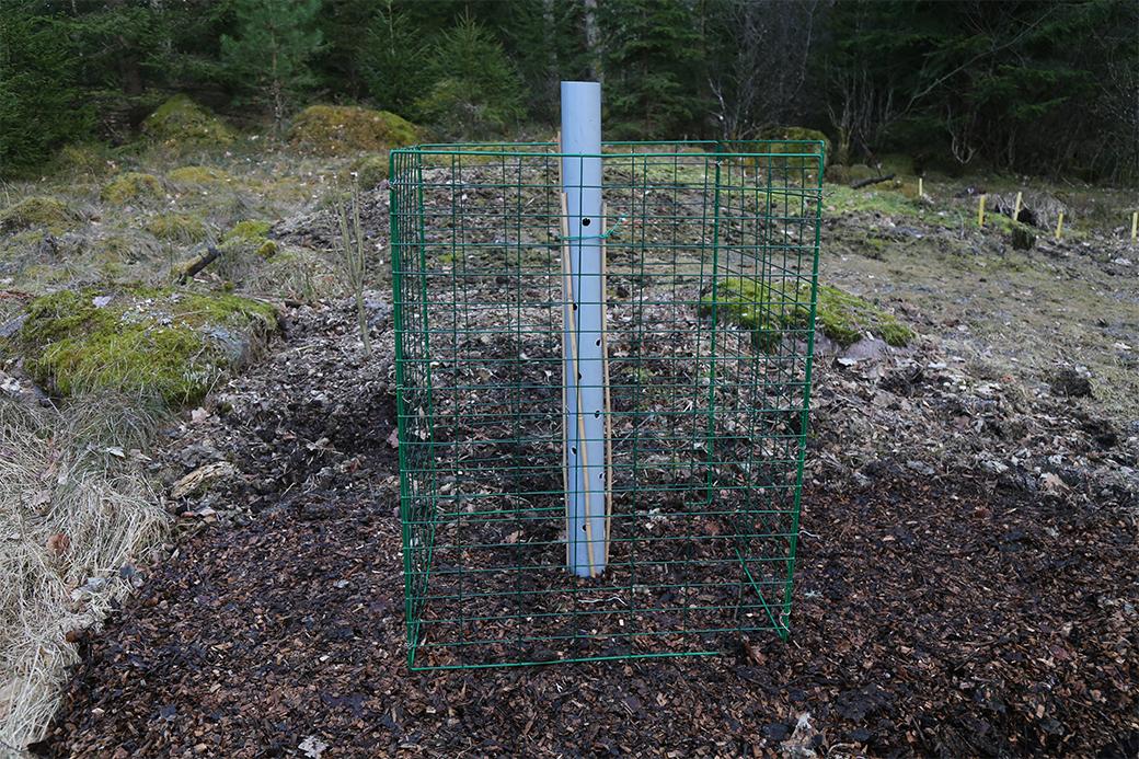 Gallerkomposten ställs på höjden där kompostjorden senare skall användas. Ett plaströr förses med hål och ställs i mitten av komposten; så att luft tillförs komposteringsprocessen.