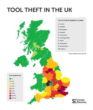 top spots for tool theft