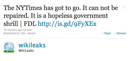 A Wikileaks declarou guerra ao New York Times?