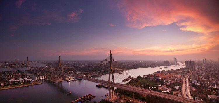 Panorámica de Bangkok al atardecer