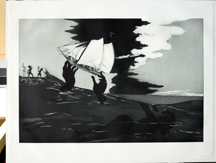 Kara Walker (b. 1969), no world from An Unpeopled Land in Uncharted Waters. Aquatint, 2010. © Kara Walker. Reproduced by permission of the artist