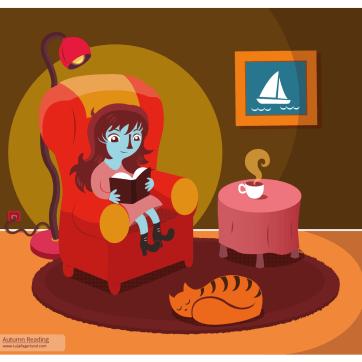 Autumn Reading Illustration