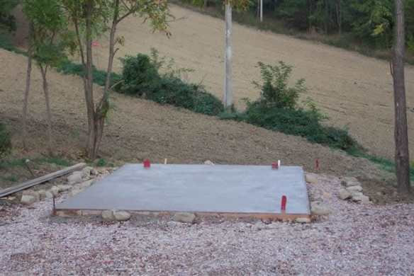 Simple concrete base with timber shuttering