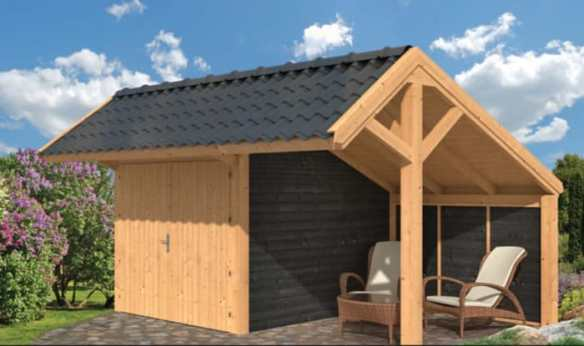 Garage style cart lodge clad in larch using the modular system