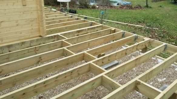 Floor joists are added using joist hangers.