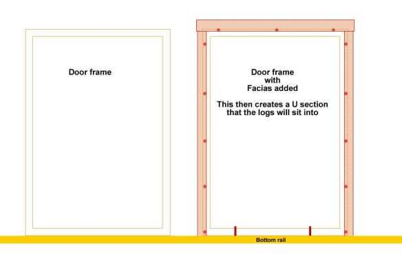 Door frame for double doors.