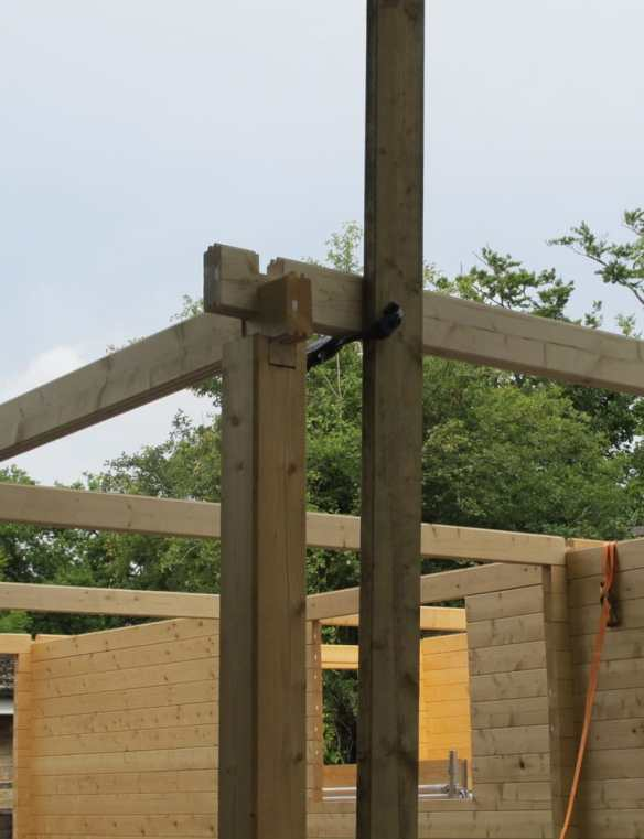 Post and clamp is handy for setting a beam or purlin height.