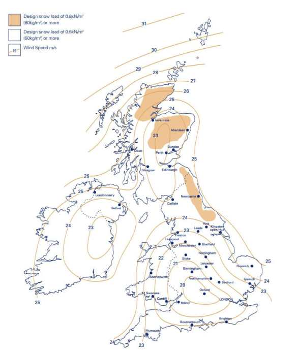 A map showing the snow loading requirements in the UK