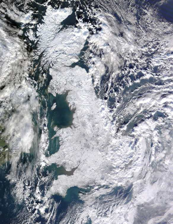 Snow in the Uk, the whole of the country was covered at one point