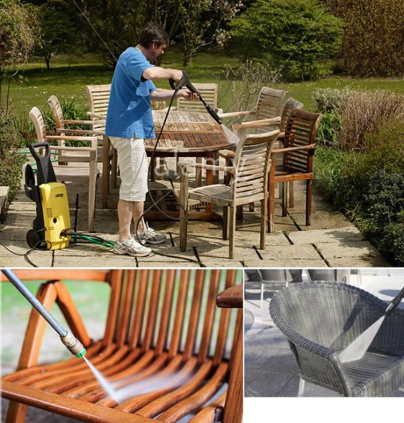 Using a pressure washer to clean your garden furniture