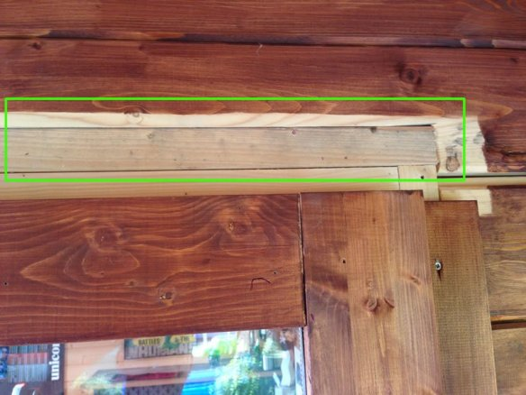 Extra timber placed above the door frame
