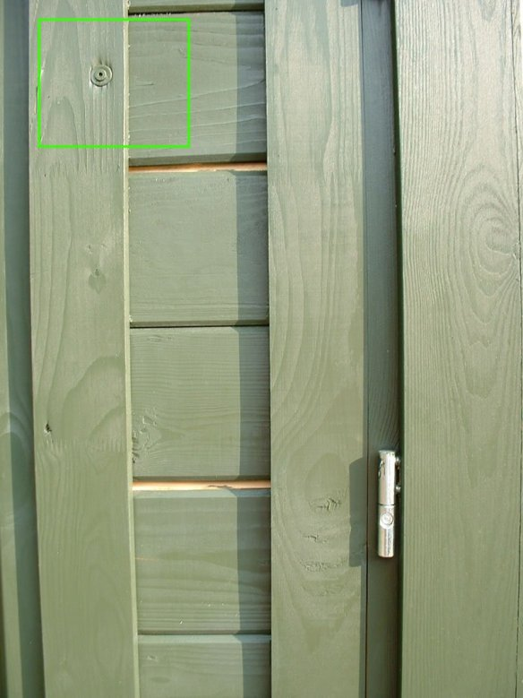 This door fascia has been screwed to the logs. There was quite a few of these in the install