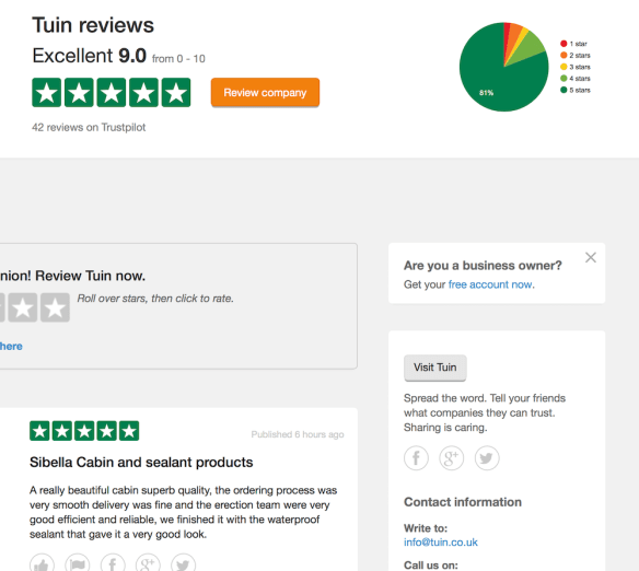Reviews on Trustpilot website
