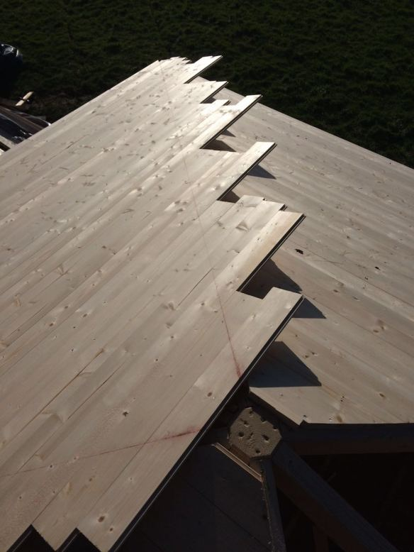 I prefer roof boards like this, they can just be nailed on and cut down to get a perfect joint on site.