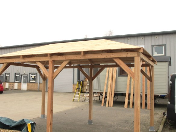 Gazebo roof structure complete ready for the final roof covering.