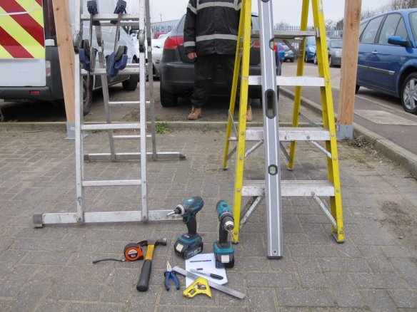 Tools include: Two Step Ladders, Two drills,