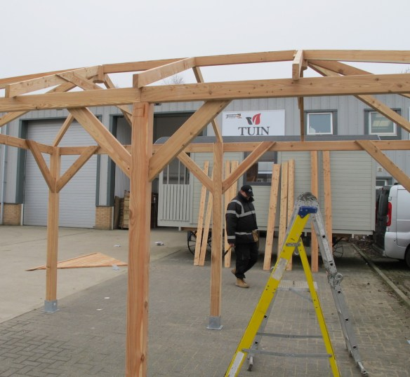 Roof structure completed ready to accept the roof boards.