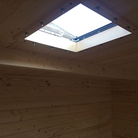 Installed with an insulated roof. Longer bolts may need to be sourced locally and also trim for the inside.