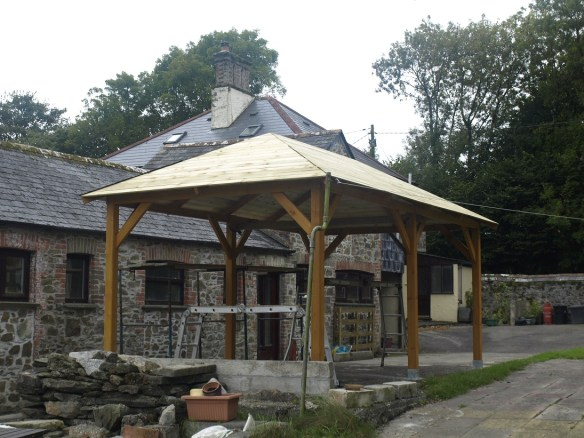 Superior gazebo roof boards being fitted