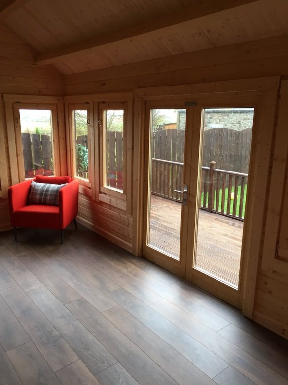 Ample out door living space is provided in the substantial Ben Clockhouse Log Cabin, being 70mm thick this can be used all year around with the addition of insulation