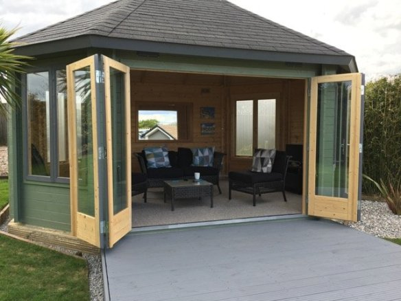 A really posh summerhouse can be made using the Gudrun Lo Cabin, the bi-folding doors really allow the outdoors in,