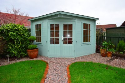 The Emma Log Cabin Painted Turquoise