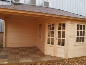 The Completed Kennet Log Cabin With Gazebo
