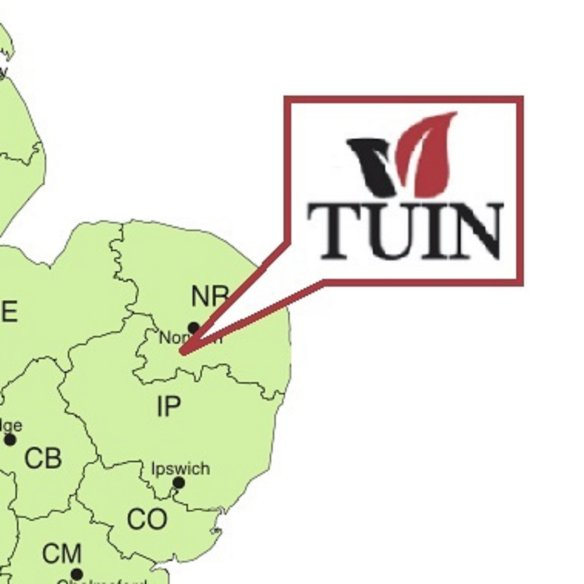 Tuin in Norfolk map