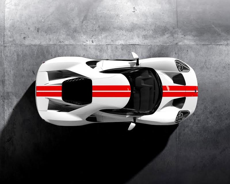 GT Configurator: frozen white Ford GT race red stripe overhead