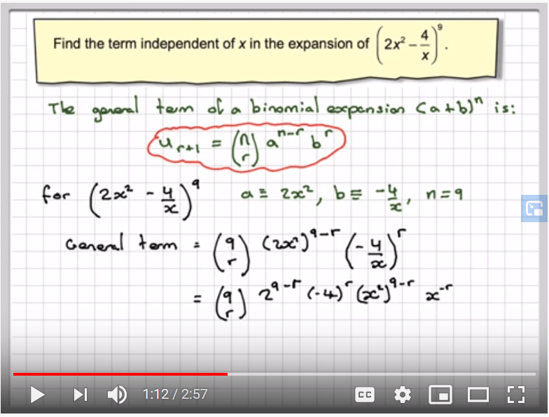 additional math - binomial theorem - find the term independent of x.