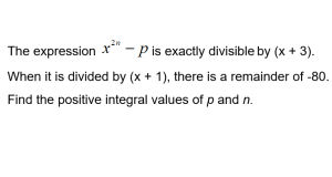 image : a-math - remainder and factor theorem - find integral values of n and p