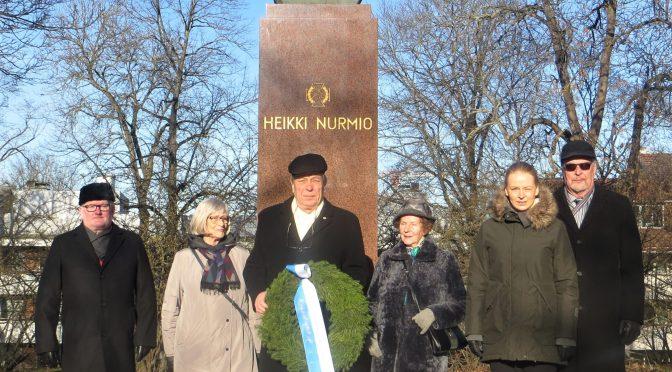 Seppeleenlasku 25.2.2020 Heikki Nurmion muistomerkille