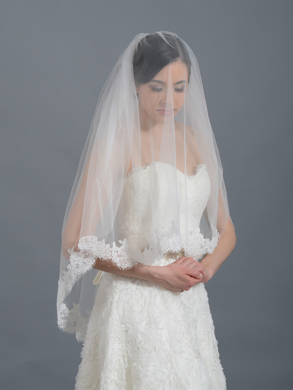 2 Tier Ivory Elbow Alencon Lace Wedding Veil V042