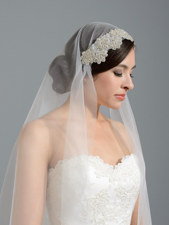 Ivory Elbow Wedding Veil With Rhinestone Applique V048
