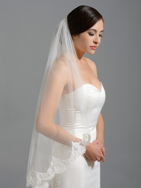 Ivory Elbow Alencon Lace Wedding Veil V049