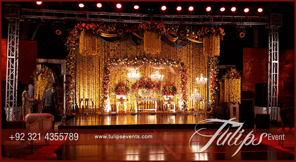 Sangeet Night Theme Stage decoration setup tulips events in Pakistan