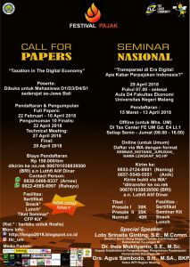 Call for Papers Seminar Nasional Festival Pajak 2018