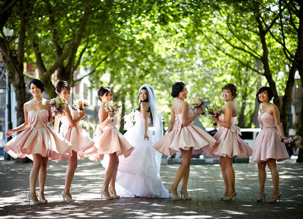 Adorable Pink Bubble Inspired Short Bridesmaid Dresses