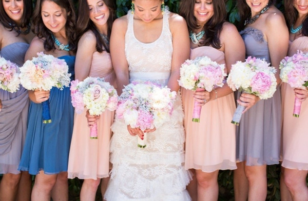 Romantic Blush Lilac Blue Mismatched Bridesmaid Dresses